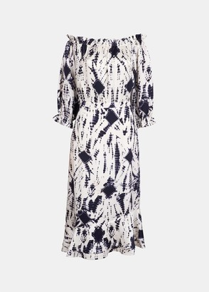 Essentiel Dark Blue Silk Tie Dye Dress - 34