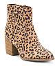 Stacked Heel Leopard Booties