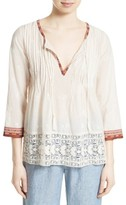 Joie Women's Gustavie Embroidered Cotton Blouse