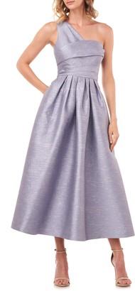 Kay Unger Victoire Metallic Jacquard One-Shoulder Cocktail Dress