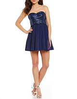 As U Wish Strapless Bead and Sequin Bodice Party Skater Dress
