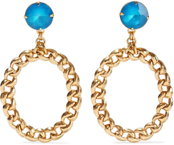 Elizabeth Cole Brielle 24-karat Gold-plated Crystal Earrings