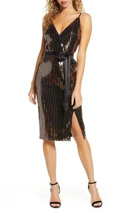 Chelsea28 Sequin Stripe Faux Wrap Cocktail Dress