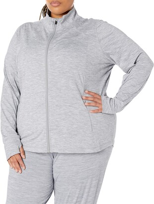 Amazon Essentials Women's Standard Plus Size Brushed Tech Stretch Full-Zip Jacket