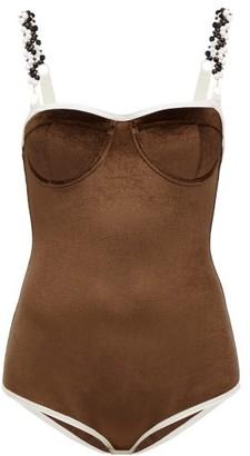 Ami Muse Studio - Beaded Velvet Bodysuit - Brown