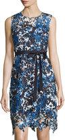 T Tahari Lincoln Sleeveless Lace Dress W/Tie, Wild Bird