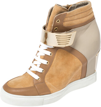 Le Silla Brown/Grey Leather In Chipow High Top Wedge Sneakers Size 40