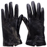 Tory Burch Logo Leather Gloves