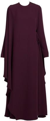 Valentino Draped Side-Tie Silk Cape Dress