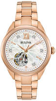 Zales Ladies' Bulova Automatic Diamond Accent Rose-Tone Watch with Mother-of-Pearl Skeleton Dial (Model: 97P121)