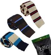 BMC Mens Crochet Knitted Square Flat End Fashion Neck Ties 3pc Collection - Set 1, Stripe Me Kent