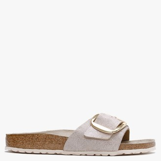 Birkenstock Madrid Big Buckle Washed Metallic Rose Gold Leather Mules