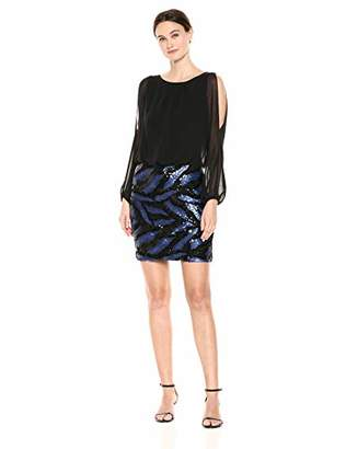 Calvin Klein Women's Split Sleeve Chiffon Blouson Dress with Embellished Skirt