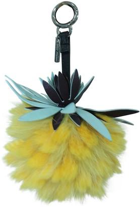 Fendi Yellow Fur Bag charms