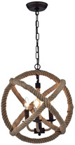 "Warehouse Of Tiffany Twirlie 16.5"" Hemp Rope Metal Chandelier, Antique Bronze"