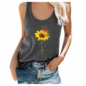 Younthone Women's Summer Casual T-Shirt Sunflower Sleeveless Tank Top Loose Sports Vest Fashion Simple Tee Blouses Shirt(Black UK:10/M)