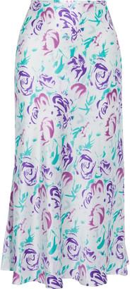 Rixo Kelly Floral-print Silk And Tencel-blend Charmeuse Midi Skirt