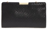 Milly Small Geo Debossed Leather Frame Clutch - Black