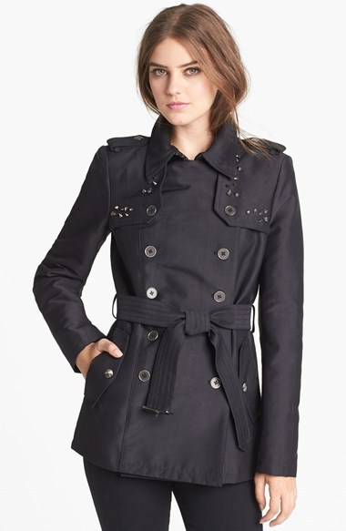Sam Edelman Studded Double Breasted Trench Coat (Online Only)