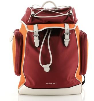 Burberry Double Pocket Drawstring Backpack Nylon with Leather Medium