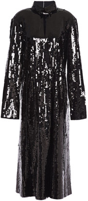 Tibi Sequin-paneled Woven Midi Dress