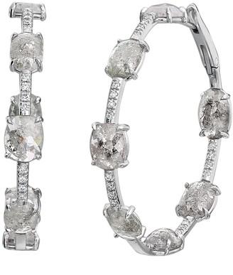 Nina Runsdorf Clair De Lune Mix Shape Diamond Hoop Earrings