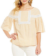 M.S.S.P. Round Neck Striped Bell Sleeve Top