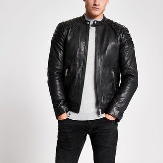 Superdry Mens River Island Black leather racer neck jacket