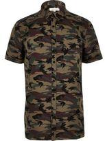 River Island MensKhaki camo shirt