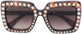 Gucci crystals applique sunglasses - women - Acetate/Crystal - 53