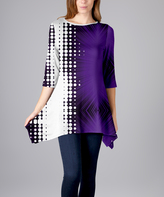 Lily Purple & White Abstract Sidetail Tunic - Plus Too