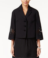 Kasper Crepe Three-Button Embroidered Jacket