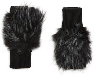 Jocelyn Long Faux Fur Knitted Mittens