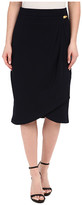 Adrianna Papell Pleated Wrap Skirt with Metal Tab