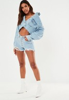 Missguided Petite Light Blue Button Fly Distressed Shorts