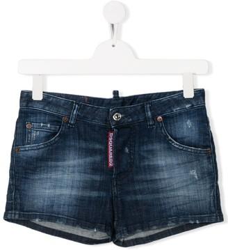 DSQUARED2 TEEN washed denim shorts