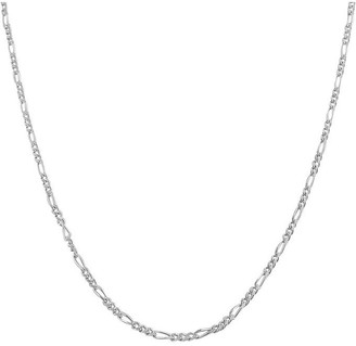 N Ss Fl 16 White Italian Sterling Silver Figaro Chain Necklace