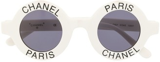 Chanel Pre Owned Round Logo Sunglasses