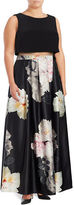 Betsy & Adam Pocketed Floral-Print Popover Ball Gown