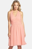Eliza J Shirred Chiffon Halter Dress