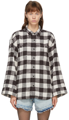 R 13 Black and White Oversized Sleeve Shirt