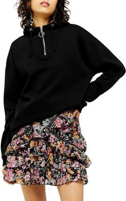 Topshop Quarter-Zip Hooded Sweatshirt