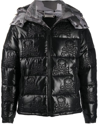 Philipp Plein Embroidered Skull Down Jacket