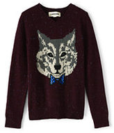 Classic Little Boys Novelty Intarsia V-Neck Sweater-Burgundy Donegal Wolf