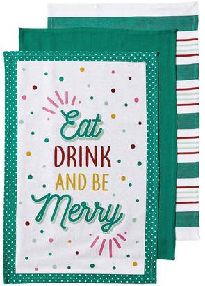 Ladelle Cheer Merry Green 3pk Kitchen Towel