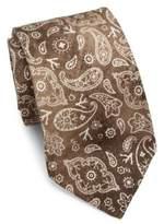 Isaia Faded Paisley Linen & Silk Tie
