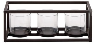 clear Decmode Contemporary 5 X 14 Inch Black Iron and Glass Three-Light Votive Candle Holder, Black