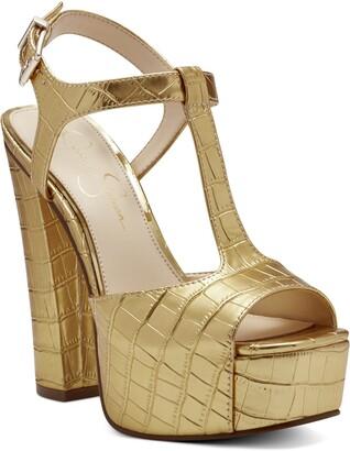 Jessica Simpson Palya Croc Embossed T-Strap Platform Sandal