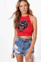 boohoo Womens Holly Jaguar Print Halter Crop Top