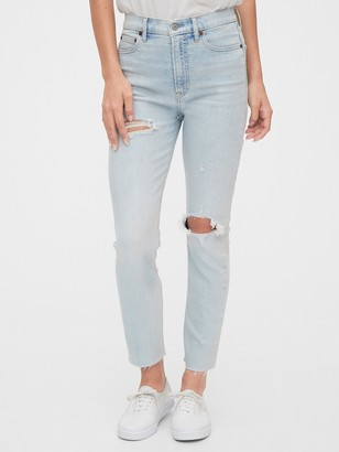 Gap High Rise Destructed Cigarette Jeans with Secret Smoothing Pockets